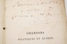CHANSONS POLITIQUES LE PAGE ENVOI 1841 BERANGER FONTAN