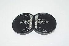 """Vintage 1910's Art Nouveau Rhinestone Black Celluloid Belt Buckle 1 5/8"""" x 3"""""""