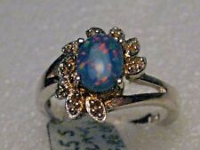 Art Deco Theme, Sz. 8, 3.5gr. Sterling Silver Created Black Fire Opal Ring,