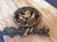 Mighty Ducks Wooden Clock w/ Wildwing Mask Logo NHL Est. 1993 Anaheim Hockey