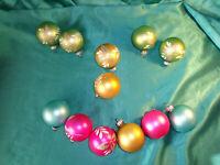 12 alte Christbaumkugeln Glas pastell pink grün blau weiß Gold-Glitzer Lauscha