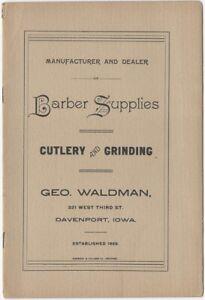 1900s Davenport Iowa Barber Supply Catalog George Waldman Hair Cutting Fashion