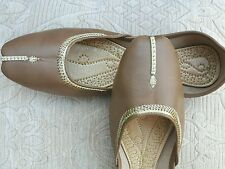 CAMEL/BEIGE LADIES INDIAN LEATHER WEDDING KHUSSA SHOES   SIZE 6