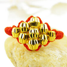 Real 24k Yellow Gold Ring Women Lucky Bless Beads Knitted Ring 0.54g