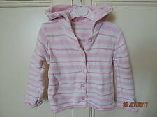 MATALAN 100% COTTON BABY GIRLS HOODED PINK WHITE KNITTED CARDIGAN 6-9 MONTHS