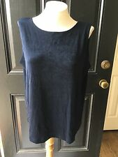 New Chico's Travelers Navy Blue India Ink Reversible Tank Top Sz 3 XL 16 18 NWT