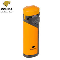 COHIBA Windproof Metal 4 Torch Flame Cigar Cigarette Lighter Gas Butane w/ Punch