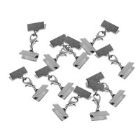 10pcs 13mm Ribbon End Clamp Crimps with Lobster Clasp Leather Cord Ends DIY