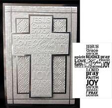 Darice Embossing Folders Cross with words folder 1218-49 Easter Sympathy