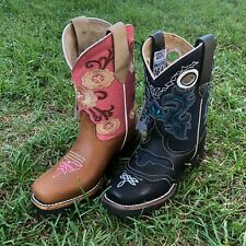 Kids Western Boots Floral Embroidery Leather Pink Cowgirl Square Toe Botas