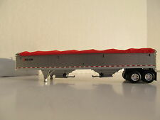 DCP 1/64 SCALE WILSON GRAIN  TRAILER PEWTER WITH RED TARP & SILVER HOPPERS