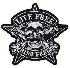 ac14 Live Free Ride Free Aufnäher Bügelbild Biker Totenkopf Stern 10,0 x 9,5 cm