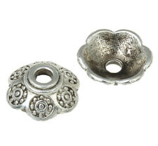 40 Perlenkappen 10mm Tibet Antik Silber Blumen Spacer Zwischenteile BEST M521