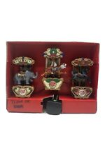 Vintage Mr Christmas Carousel Ornaments Lighted Animated Musical- Set of 3