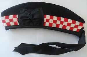 Scottish Glengarry, Red & White Diced Design, Red Pom Pom, Wool, Hat, Kilt, Army