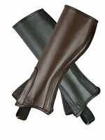 LEATHER HALF CHAPS BLACK & BROWN ADULT TOP QUALITY FULL GRAIN COWHIDE-ALL SIZES
