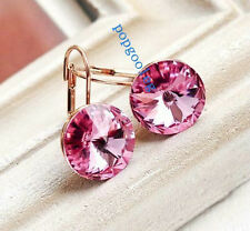earring women dangle 18K rose Gold GP big pink zircon Crystal circle free shi