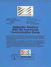 20 cent USA NETHERLANDS TREATY 1982 SOUVENIR PAGE SCOTT # 2003 SP582 HISTORICAL