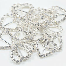 16pcs Flower Shape Rhinestone Buckle Ribbon Slider Wedding Party Favors 17mm
