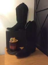 Vittorio Ricci Black Suede Distressed Leather Western Cowboy Boots | Size 6M