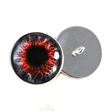 Red Demon Sew On Glass Eyes 16mm Button Loops for Soft Fabric and Crochet Dolls