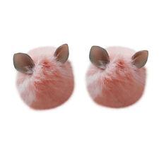 Rabbit Fur Ear Shape Pom pom Ball for Hats Scarves Hand Bag Keychain Accessory