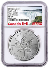 2018 Canada 1 oz Silver Maple Leaf -Incuse $5 Coin NGC MS69 ER