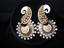 Diamante Peacock Earrings Free Shipping Elegant Bollywood Style white meena and