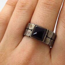 Vtg 925 Sterling Silver Black Onyx Gemstone Wide Ring Size 9