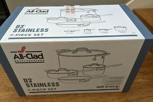 All Clad 7 PC Cookware Set D3 Tri-Ply Stainless Steel New