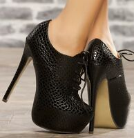 WOMENS BLACK ANKLE SHOE BOOT STILETTO HIGH HEEL HIDDEN PLATFORM BOOTIES SIZE