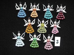 Perlen-Schutzengel 10 Sammlerstücke handarbeit Weihnachten Deko Taufe Glück rot