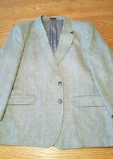 Gray Herringbone Tweed 100% Silk Blazer 44R Jacket Sport Coat MW Brand Vtg Korea