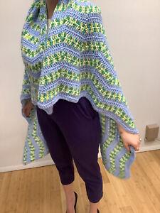 """Handmade Crocheted Blue/Green 50""""x 51"""" Acrylic Afghan Chair Throw"""