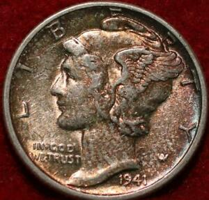 Uncirculated Toned 1941 Philadelphia Mint Silver Mercury Dime