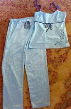 ETAM Tiffany Blue Embroid Satin Pajama Set New From France Size FR 42 US 8 Small