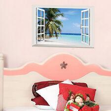 Removable 3D Window Palm Beach Sea Wall Sticker Mural Vinyl Art Home Decor Decal