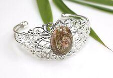 Fire Agate Stone Bracelet Filigree Silver Plated Bangle Brown / Peach Cabochon