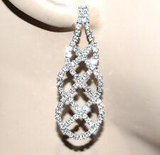 ORECCHINI donna argento strass pendenti cristalli sposa eleganti cerimonia G42