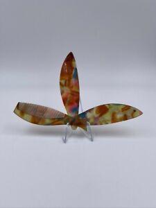 "Folding Fish Hair Comb, multi colour, 4.5"" closed, excellent condition"