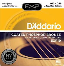 D'Addario EXP19 Coated Phosphor Bronze For Bluegrass Acoustic Guitar .012 - .056