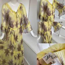 Milly NEW YORK Gasa Amarillo Seda Bohemio Floral Vestido Maxi Tie Dye 8 36 $295