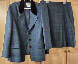 JOHN MEYER Women's Plaid Tartan Blue Green Black Blazer Skirt Suit Set, SZ 20W