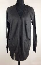 Diesel Women's Cardigan 2XS Distressed Black Alpaca Wool Knit Sweater NWT $248