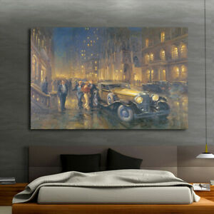 Print Painting Home Wall Art Deco Alan Fearnley Retro Car Avenue Canvas 16x20