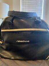 Reebok Faux Leather Black White Trim Duffle Workout Bag