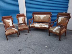 Antique Empire Carved Lion Heads Ornate Living Room Set Newly Upholstered 4 PC