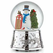 """Reed & Barton Snowman & Sleigh Snowglobe 5.5"""" ~ Christmas Musical ~ 875195 ~ NIB"""