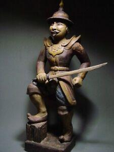 ANTIQUE BURMESE TEAK WOOD-CARVED 'KING HSINBYUSHIN'. MANDALAY PERIOD. 19th C.