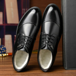 Mens Thick Fleece Lined High Top Business Formal Dress Suit Warm Oxfords Shoes